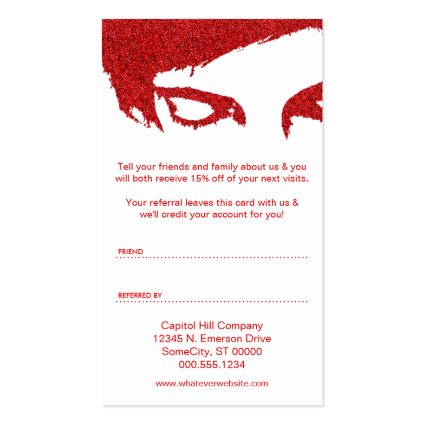 Refer a friend program template glitter glam refer a friend business card invent me colourmoves