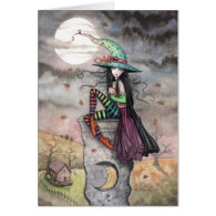 Enchanted October Halloween Witch Cat Card