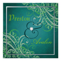 Exquisite Baroque Green Scroll Teal Invitation