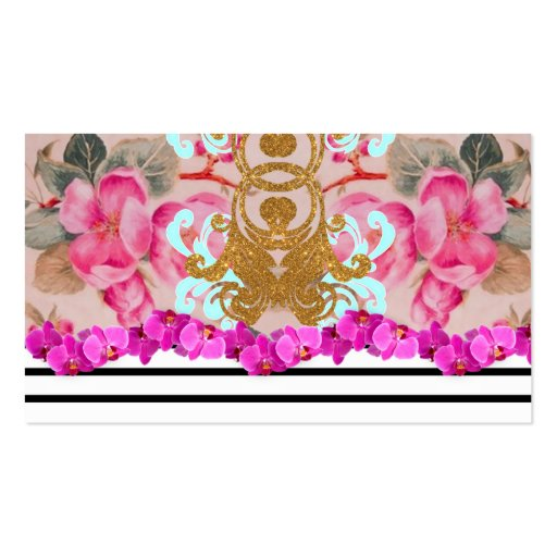 Fashion Girly Pink Floral Trendy Stripes Pattern Business Card