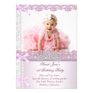 First 1st Birthday Party Girls Princess Pink Photo Custom Invite