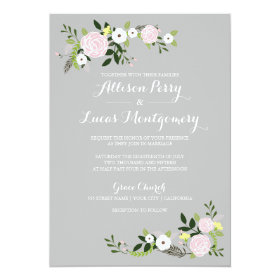 Floral Garden Wedding Invitation -gray