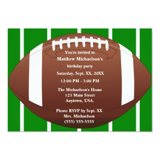 Football With Green Field Birthday Party Invitation