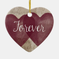 Forever Hearts Double-Sided Heart Ceramic Christmas Ornament
