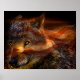 Freedom Wolf Art Poster/Print