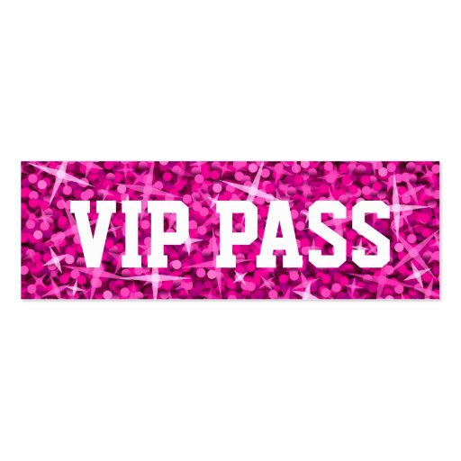Glitz Pink 'VIP PASS' business card skinny
