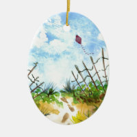 Go Fly A Kite - watercolor Double-Sided Oval Ceramic Christmas Ornament