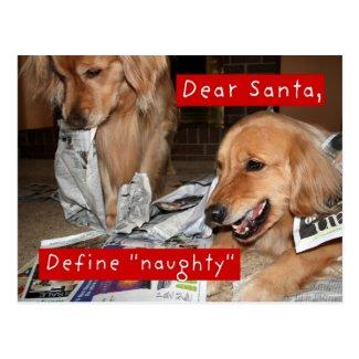 Golden Retriever Define Naughty Christmas Postcards