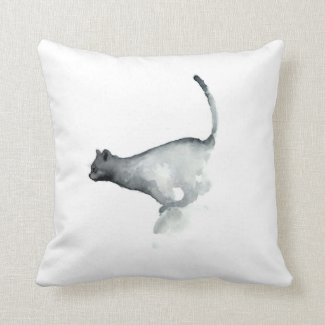 Gray grumpy cat white pillow cats