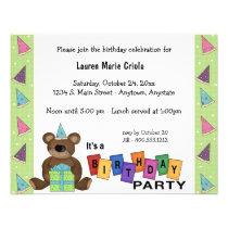 Green Birthday Present Bear Party Invitation