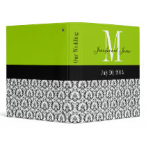 Green Black White Damask Wedding Planner Binder