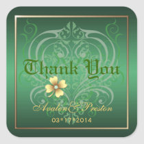 Green Crest Thank You Shamrock Stickers