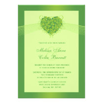 Green shamrock clovers heart wedding invitation