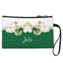 Green White Gold Scrolls, Shamrocks Mini Clutch Wristlet Clutch
