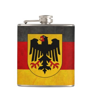 Grunge Germany Flag with Shield Badge Flask
