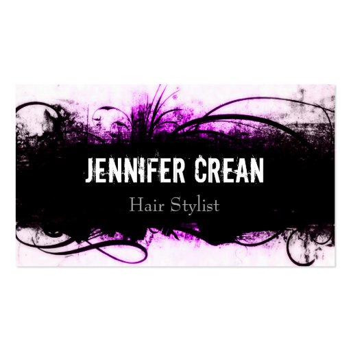Grunge Pink and Black Business Card