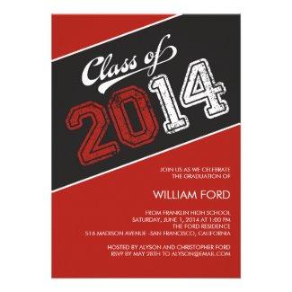 Grungy Graduate 2014 Graduation Invitation - Red