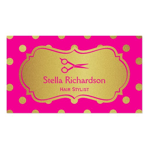 Hair Salon Stylist - Charming Hot Pink Gold Dots Business Card