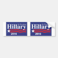 Hillary Clinton for President 2016 - 2 in 1 Bumper Sticker