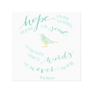 Hope is the thing with feathers Quote Canvas Canvas Print