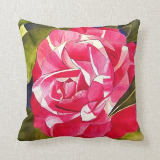 Hot pink Camellia floral Pillow
