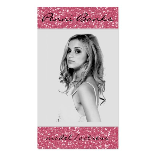 Hot Pink Glitter Model Actress Business Cards