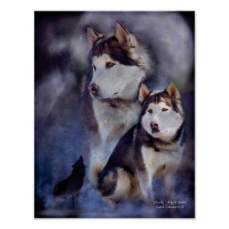 Husky -Night Spirit Art Poster/Print