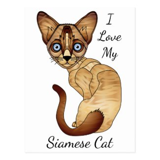 I Love My Siamese Cat Postcard