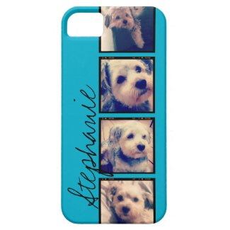 Instagram Collage - 4 photos blue background iPhone 5/5S Case