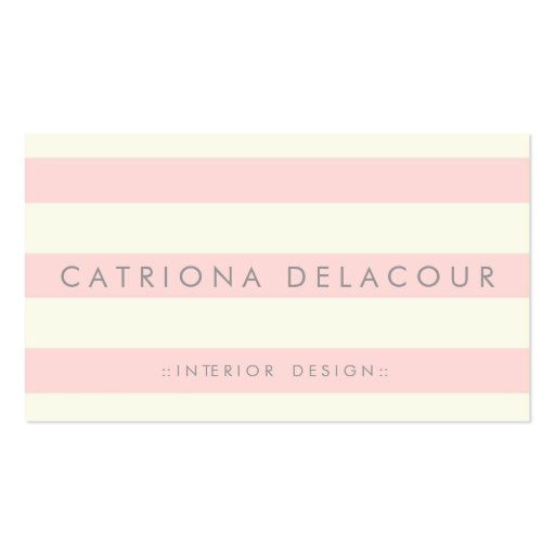 Ivory and Blush Pink Stripes Pattern Business Card