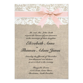 Ivory Lace Rustic Burlap Wedding Invitation- Peach 5x7 Paper Invitation Card