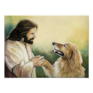 Jesus and Golden Retriever Dog Art Print