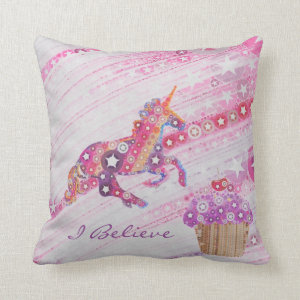 Kawaii Unicorns and Cupcakes Personalized Girls Pillow