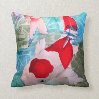 Kohaku Koi 2 Japanese Fish watercolor art Throw Pillow