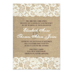 Lace Look Rustic WARM Burlap Wedding Invitation