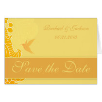 Lemon Yellow Hummingbird & Flourishes Card