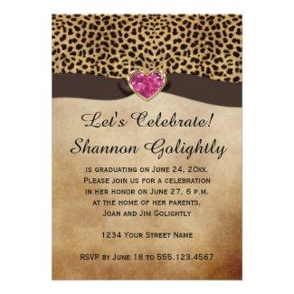 Leopard Print Pink Heart Bling Graduation Party Custom Invites
