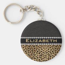 Leopard Spot Rhinestone Diamonds Monogram PHOTO Key Chains
