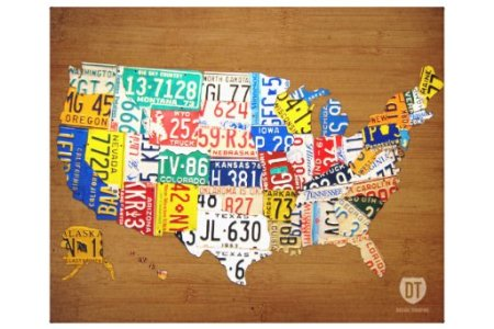 license plate map of the united states wrapped can canvas