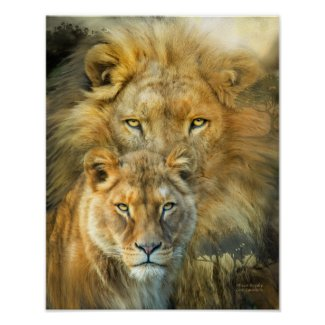 Lion And Lioness-African Royalty Art Poster/Prinr
