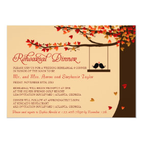 Love Birds Falling Hearts Rehearsal Dinner 5x7 Paper Invitation Card