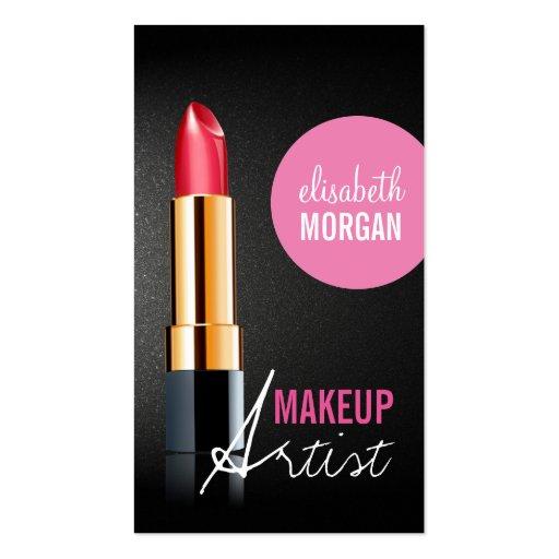 Makeup Artist - Stylish Red Lipstick Pink Beauty Business Card