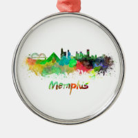 Memphis skyline in watercolor round metal christmas ornament