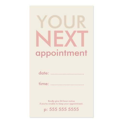 Minimal Basic Appointment Card in Offwhite & Pink Business Card