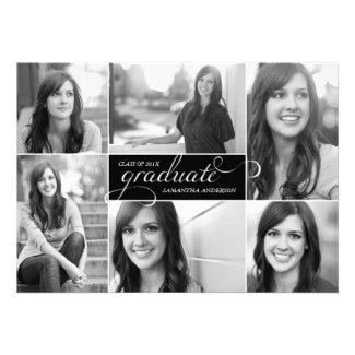 Modern 6 Photo Script Graduation Invite - Black
