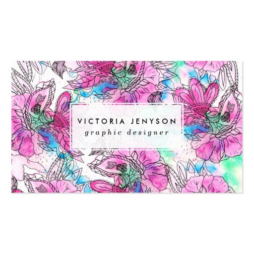 Modern abstract pink purple floral watercolor business card