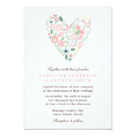 Modern Floral Heart Wedding 5x7 Paper Invitation Card