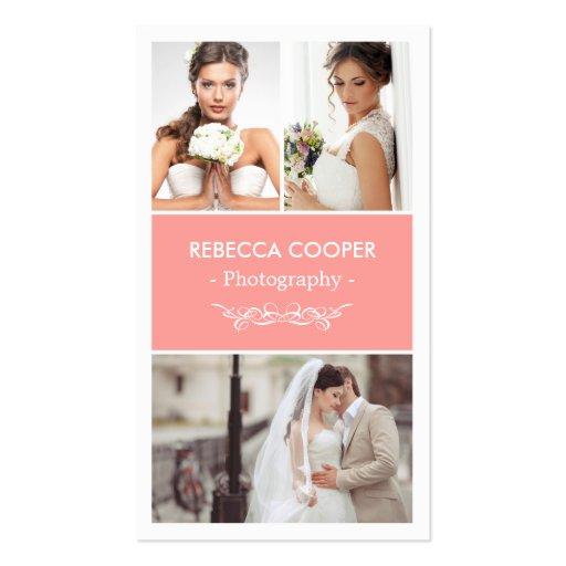 Modern Wedding Photo Collage - Elegant Coral Pink Business Card
