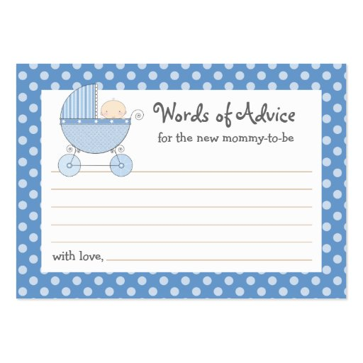 Mommy Advice Card Baby Shower Carriage | Pink Large Business Card