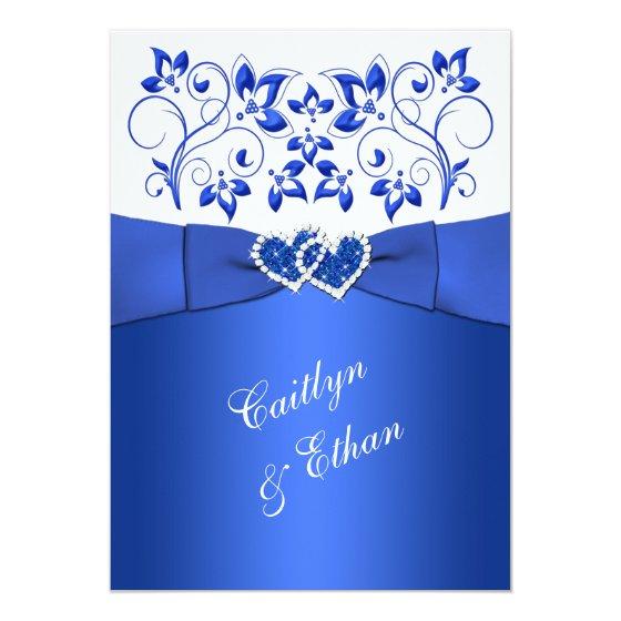 Monogram Cobalt Blue, White Floral Wedding Invite